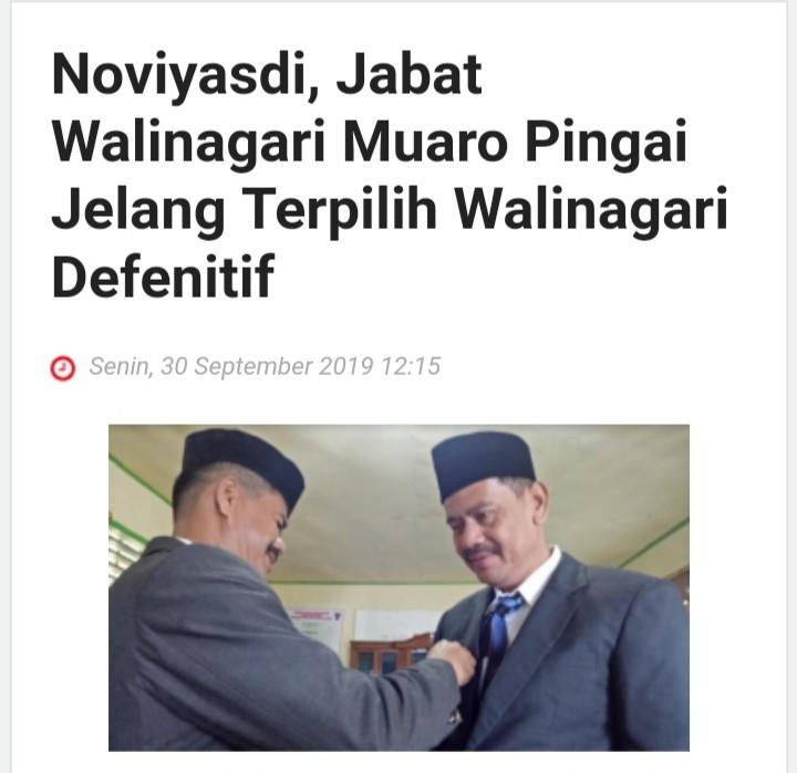 Pelantikan Pejabat Wali Nagari Muaro Pingai Oleh Camat Junjung Sirih